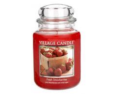 Village Candle 106326398 Frische Erdbeeren große Duftkerze 737 g, Glas, rot, 10.3 x 10.1 x 15.4 cm