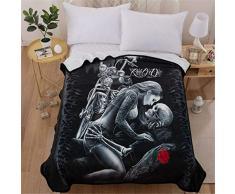 WONGS BEDDING Luxus Bettdecke 3D Totenkopf Bettwäsche Set Ride or Die-Bettwäsche SAMT Plüsch Decke Leichtes Weiches Flanell Fleece Überwurf Decke für Bett und Sofa