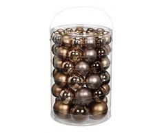 Inge-glas 15101E460-MO Glaskugel Sortiment 60 Stück Vorteilsdose, 18x4cm / 20x5cm / 16x6cm / 6x7cm Elegant Lounge-Mix, (Schokobraun Glanz, Puder glanz+matt,Nerz matt)