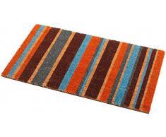Addis Fußmatte, 100% natürlicher Kokosfaser-Flor mit Streifen-Design – 70 x 40 cm, Mehrfarbig