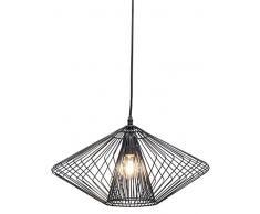 Hängeleuchte Modo Wire Round, moderne, schmale Designer Pendelleuchte, geometrische Hängelampen, Stahl, schwarz (H/B/T) 28x44,5x44,5cm