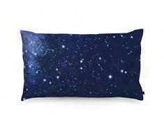 FOONKA Buchweizen Kissen NORDHIMMEL 50x30 cm, Kopfkissen gefüllt mit Buchweizenschalen, Cotton, Nachthimmel, Marineblau, Schwarz