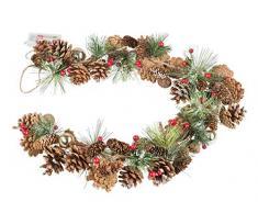 Weihnachtsgirlande mit Tannenzapfen und 10 LED in warm Weiß, 6 Stunden Timer Funktion, Batterie betrieben, für Weihnachten, Deko, als Stimmungslicht, circa 1 M