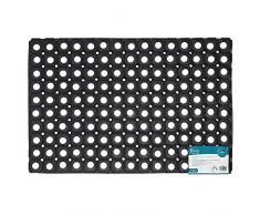 JVL Rondo Gummi Ring strapazierfähig Outdoor Entrance Fußmatte, schwarz, 40 x 60 cm