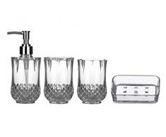 Premier Housewares 1601510 Cristallo Badezimmer Set 4-Stück, klar