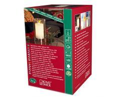 Konstsmide 1970-100 LED Dekoration Echtwachskerze in Glasvase / für Innen (IP20) / Batteriebetrieben: 2xAA 1.5V (inkl.) / mit Lichtsensor / 2 warm weiße flackernden Dioden