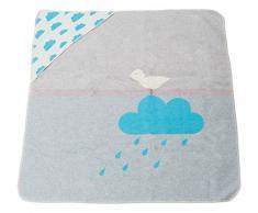 David Fussenegger 67412338 Juwel Baby- und Kinderdecke mit Kapuze Regenwolke, Baumwoll-Mischgewebe, türkis/grau, 80 x 80 x 80 cm