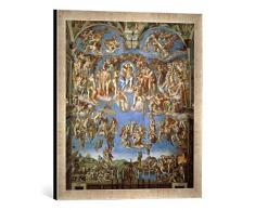Gerahmtes Bild von Michelangelo BuonarottiDas jüngste Gericht, Kunstdruck im hochwertigen handgefertigten Bilder-Rahmen, 50x50 cm, Silber Raya