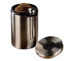 Xavax Kaffeedose mit passendem Kaffeelöffel (für 1kg Kaffeebohnen, Tee, Kakao, mit Aromaverschluss, Edelstahldose) silber