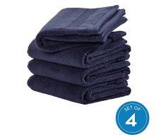iDesign 4er-Set Handtücher, kleines Handtuch mit gewebter Verzierung aus Baumwolle, weiches und saugfähiges Handtuch Set mit Aufhänger für Waschbecken und Gäste-WC, dunkelblau