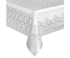 Unique Party Supplies Weiß Spitze Kunststoff Tischdecke, 9 ft x 4.5 ft