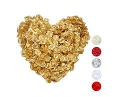Relaxdays Rosenblätter 3000er Pack, Streudeko für Hochzeit, Valentinstag & Jahrestag, Rosenblüten künstlich, Gold