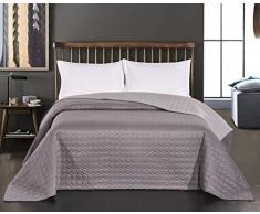 DecoKing Premium 11775 Tagesdecke Stahl 200 x 220 cm Stahl grau anthrazit Silber Bettüberwurf Kreisen zweiseitig pflegeleicht Salice