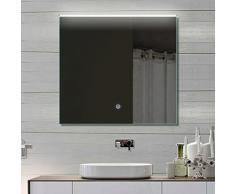 Badezimmerspiegel Wandspiegel Lichtspiegel LED TOUCH SCHALTER Lichtfarbton kalt/warm einstellbar 72 x 70 cm THL72X70