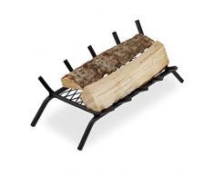 Relaxdays, schwarz Kaminrost, eckig, Stahl, Kamin & Grillkamin, massiv & robust, Feuerrost mit Füßen, HBT: 16x58x28 cm, 16 x 58 x 28 cm