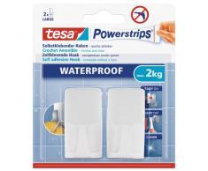 tesa Haken, wasserfest für Dusche und Bad, weiß, durch Powerstips wieder ablösbar