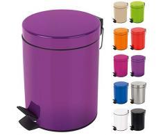 Spirella Kosmetikeimer Sydney Lila Mülleimer Treteimer Abfalleimer - 3 Liter – mit herausnehmbaren Inneneimer