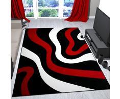 VIMODA Wohnzimmer Teppich Rot, Schwarz Und Weiß Mit Wellen Muster Friseé Flauschig Weich Konturenschnitt, Maße:80x150 cm