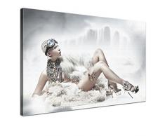 LANA KK - Leinwandbild Eiskönigin Romantik & Erotik auf Echtholz-Keilrahmen – Fotoleinwand-Kunstdruck in weiß, einteilig & fertig gerahmt in 120x80cm