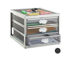 Relaxdays Schubladenbox, 3 Schubfächer, für Din A4 Dokumente, Ordnungssystem für Schreibtisch, Aktenablage, Silber