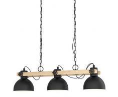 EGLO Pendellampe Lubenham, 3 flammige Vintage Pendelleuchte im Industrial Design, Retro Hängelampe aus Stahl und Holz, Farbe: Schwarz, braun, Fassung: E27
