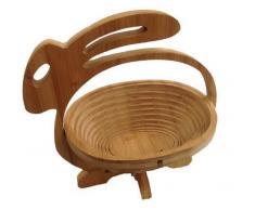 GMMH Faltkorb Bambus Obstkorb Dekoschale Obstschale Holz faltbar (Design Hase)