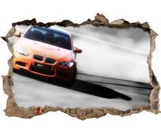 Pixxprint 3D_WD_S4647_62x42 prächtiger sportlicher BMW Wanddurchbruch 3D Wandtattoo, Vinyl, schwarz / weiß, 62 x 42 x 0,02 cm