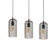 EGLO Pendellampe Roccamena, 3 flammige Vintage Pendelleuchte, Retro Hängelampe aus Stahl, Farbe: schwarz, kupfer, Fassung: E27