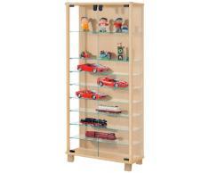VCM 60475 Sammelvitrine Loono XL, Regal für den Boden aus Holz und Glas in Silber/Buche