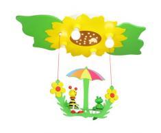 Elobra Deckenleuchte Blume/Blätter mit Schaukel Biene und Frosch, grün/gelb 128473