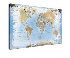 Lana KK - Weltkarte Ice - edel Leinwand Bild Kunstdruck auf Keilrahmen, fertig gerahmt in 100 x 70 cm, einteilig