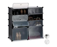 Relaxdays Schuhregal Kunststoff, Regalsystem 8 Fächer, Steckregal mit Türen, für 16 Paar, HBT 91 x 94,5 x 36,5cm, schwarz