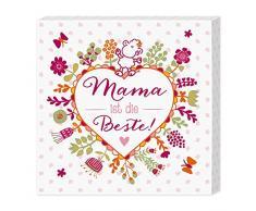 """Sheepworld 44443 Leinwandbild mit Motivdruck """"Mama ist die Beste"""", 12 cm x 12 cm"""