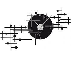Graz Design 800154_AL_070 Wandtattoo Uhr Wanduhr modern modernes Industrie Design Deko für Wohnzimmer (Uhr Silber gebürstet /Aufkleber Schwarz)