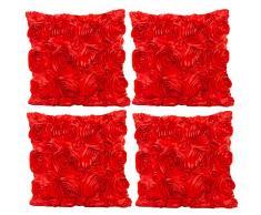 JOTOM Rosen Blumen Design Kissenbezug Einfarbig Dekokissen Kissen für Zuhause Sofa Büro Outdoor Couch SchlafzimmerHaus Zimmer Hotel 40x40 cm 4er Set (Rot)
