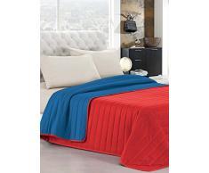 Elegant Italian Bed Linen Tagesdecke Sommer 170 x 270 cm rot/blau