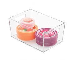 iDesign Clarity Box, kleine Badablage aus Kunststoff mit Griffen zur Aufbewahrung von Kosmetik und Make-up auf dem Waschtisch, durchsichtig
