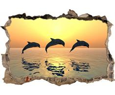 Pixxprint 3D_WD_S2587_62x42 wundervolle Delfine im Sonnenlicht Wanddurchbruch 3D Wandtattoo, Vinyl, bunt, 62 x 42 x 0,02 cm