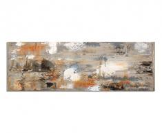 Panoramabild auf Leinwand und Keilrahmen 150x50cm Kunstmalerei braun grau abstrakt