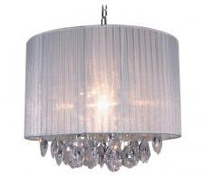 Naeve Leuchten Stoff-Pendelleuchte / exklusiv Leuchtmittel / h-30 cm / d-36 cm / Stoff / Acryl / weiß / klar 785323