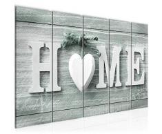 Bilder Home Herz Wandbild 150 x 60 cm Vlies - Leinwand Bild XXL Format Wandbilder Wohnzimmer Wohnung Deko Kunstdrucke Weiß 5 Teilig - MADE IN GERMANY - Fertig zum Aufhängen 504456c