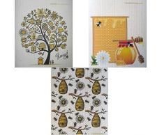 SWEDEdishcloths Geschirrtücher Bienen/Honig, 3 Stück (je EIN Design) Schwedisches Geschirrtuch - umweltfreundlich saugfähiges Reinigungstuch, Wiederverwendbare Reinigungstücher