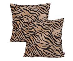 Queenie – 4 PCS Überwurf, Webpelz Kissenbezüge Kissenbezug für Sofa Kissen Fall erhältlich in 5 Farben und 6 verschiedenen Größen, baumwolle, Bengal Tiger, 18 x 18 inch (45 x 45 cm)