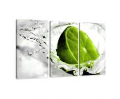 Visario Leinwandbilder 1131 Bild auf Leinwand Lime, 160 x 90 cm, 3 Teile, grün