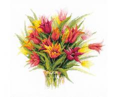 Riolis 1293 Kreuzstich-Set Tulpen in einer Vase, Baumwolle, Mehrfarbig, 40 x 40 x 0.1 cm