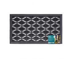 JVL Robuste Fußmatte mit Ellipsen-Design, Gummi, schwarz, 40 x 70 cm