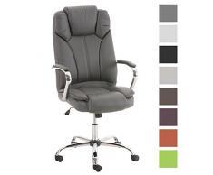 TPFLiving Premium XXL Bürostuhl Chefsessel Schreibtischstuhl DALLAS grau belastbar bis 215 kg hochwertig bequem Kunstleder Fixier- und Wippfunktion stabile Castor Rollen in 8 Farben wählbar