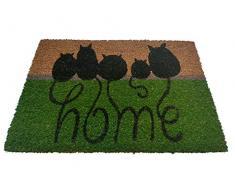 oKu-Tex Fußmatte | Fußabtreter | Türmatte | Eingangsmatte | Raja| Home Mäuse | Aufdruck | Kokosmatte Kokos | für außen | rutschfest | 40x60 cm
