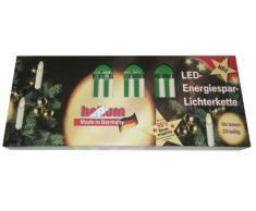 Hellum 812046, 20-tlg. Energiespar-Riffelkerzenkette, elfenbein, Innenbeleuchtung, Kerzenfarbe: klar, LED: warm-weiß, nur 2,0 Watt Stromverbrauch pro Lichterkette, Fassungsabstand 70cm, Steckerzuleitung 2 x 1,5m, Teilbarer Stecker, GL: 16,3m