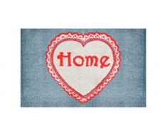 LifeStyle-Mat 100147 1 Herz, rutschfeste und waschbare Fußmatte, ideal für den Eingang, die Garderobe oder Küche, 40 x 60 cm, grau / rot